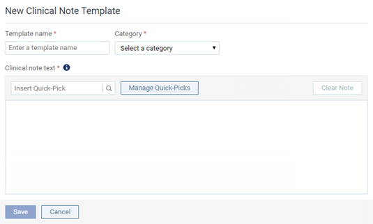 The Options For Entering A New Clinical Note Template Appear.  Note Template