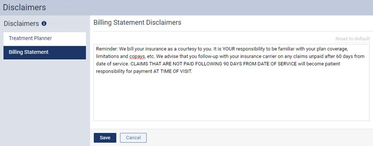 On The A Locations Disclaimers Page Select Billing Statement Options For Editing Disclaimer Becomes Available