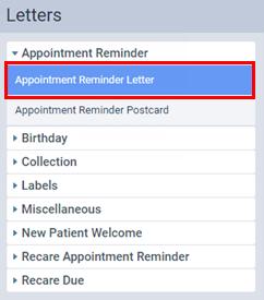 Setting Up Filters For Letter Merges Dentrix Ascend