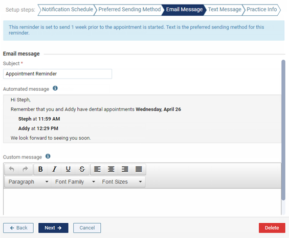 customize the email message as needed