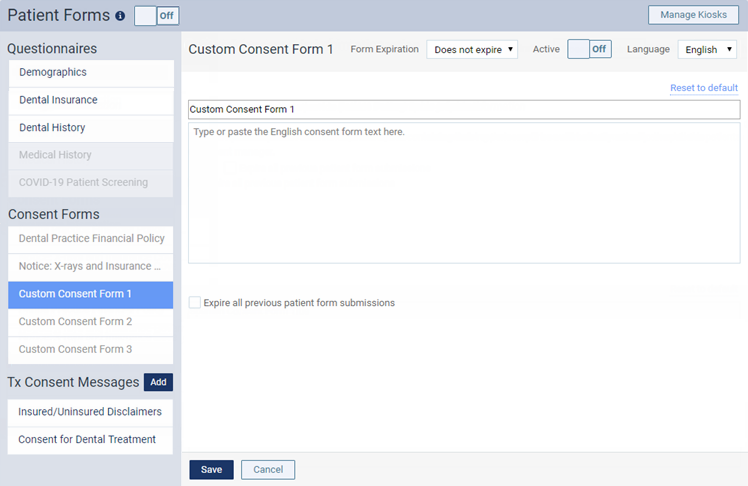 Customizing consent forms – Dentrix Ascend